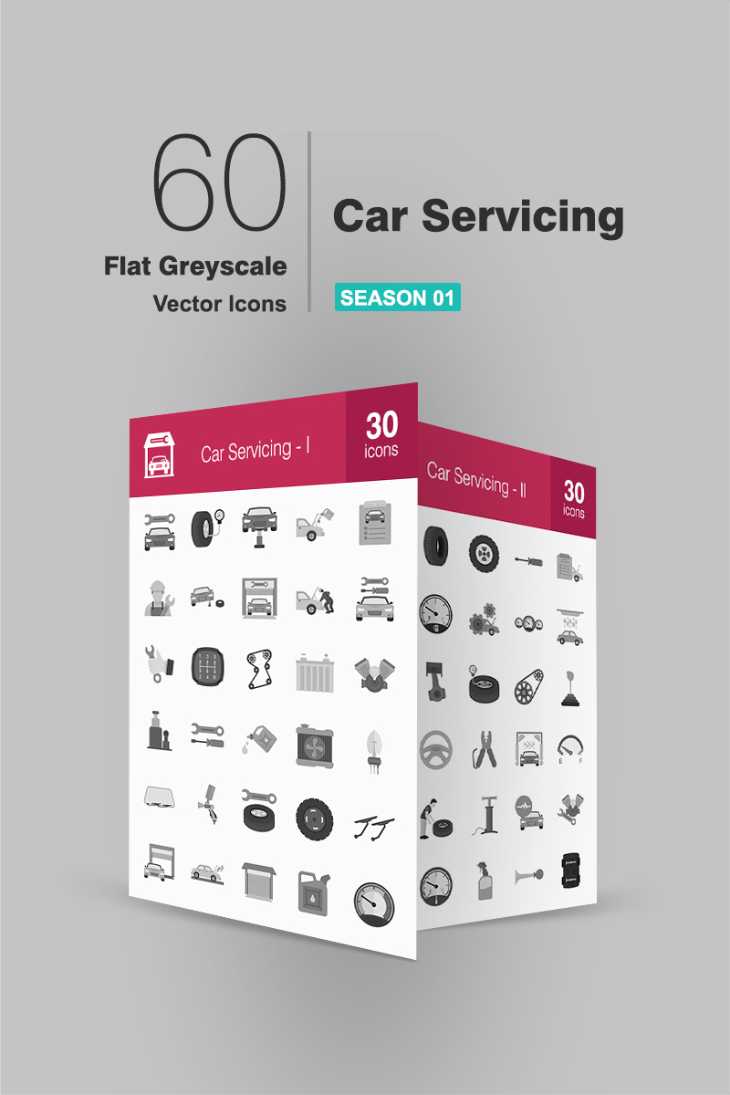 60 Car Servicing Flat Greyscale Iconset Template