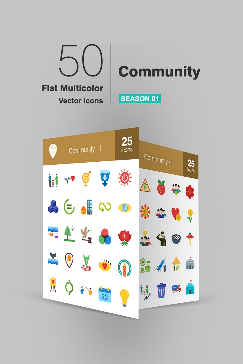 50 Community Flat Multicolor Iconset Template