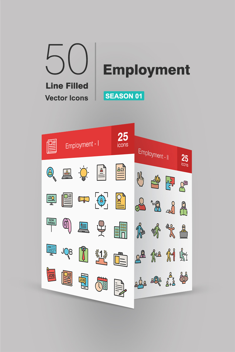 50 Employment Filled Line Iconset Template
