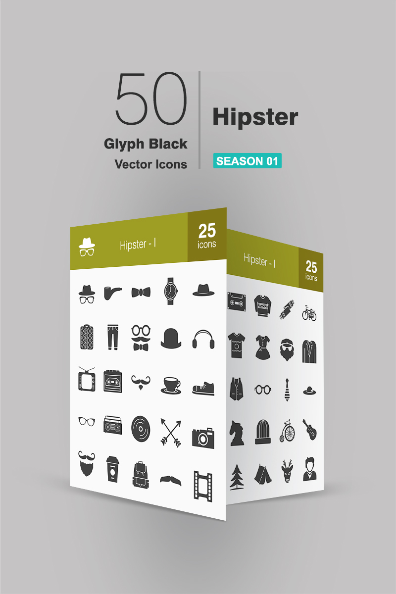 50 Hipster Glyph Iconset Template