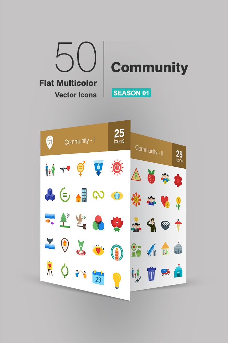 """Icon-Sammlungen Vorlage namens """"50 Community Flat Multicolor"""" #94482 - Screenshot"""