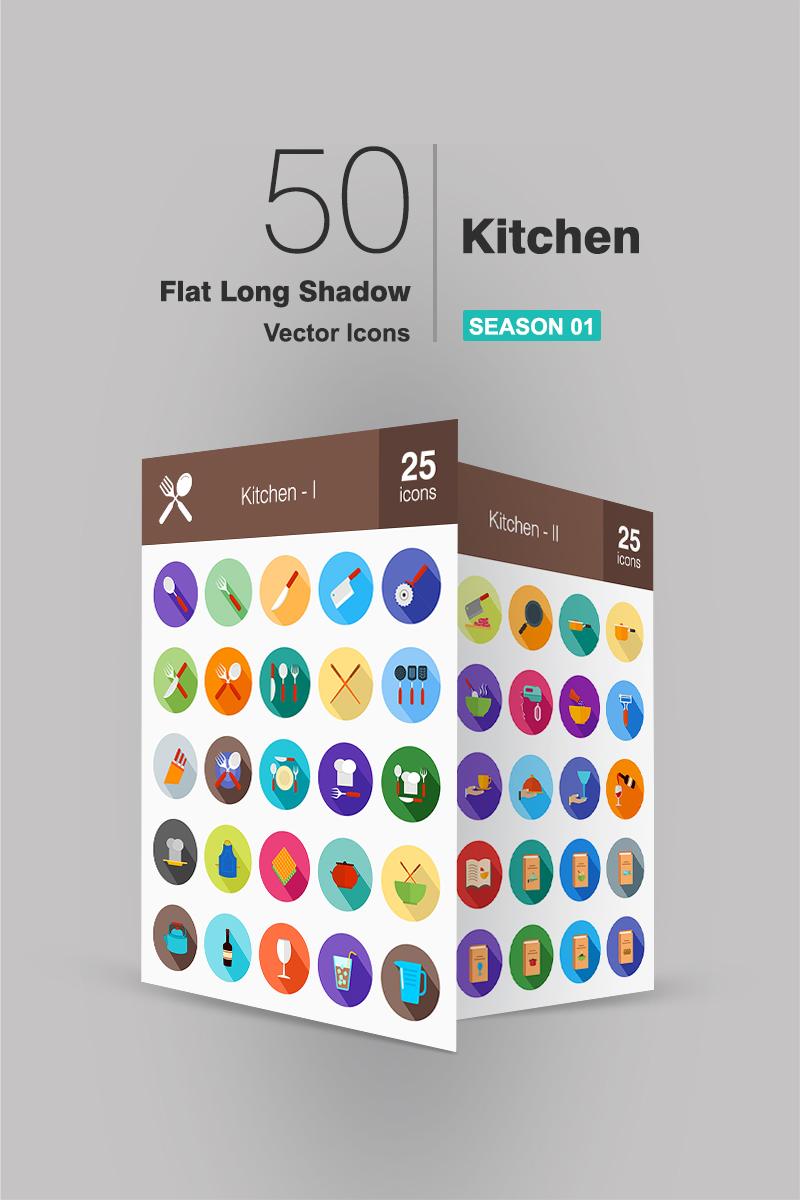 "Iconset šablona ""50 Kitchen Flat Long Shadow"" #94485"