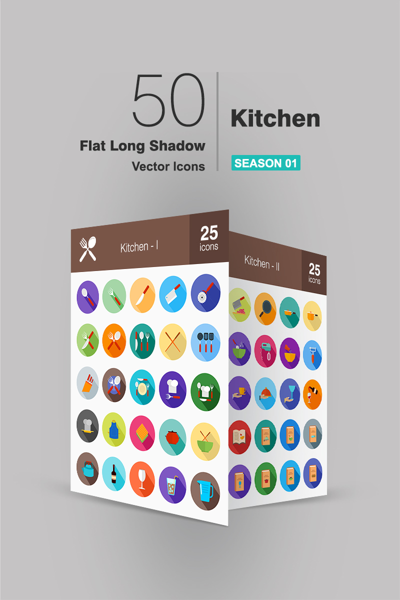 50 Kitchen Flat Long Shadow Iconset Template