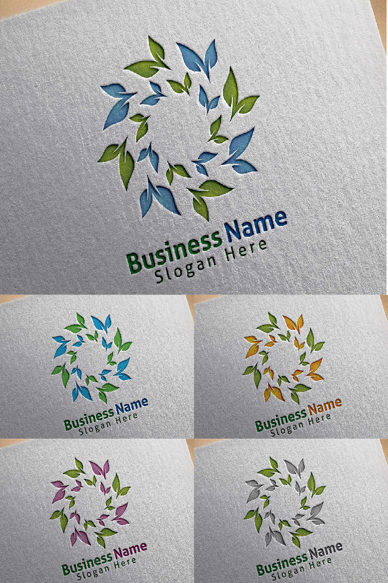 Natural Green Tree with Ecology Leaf Concept 5 Logo Template
