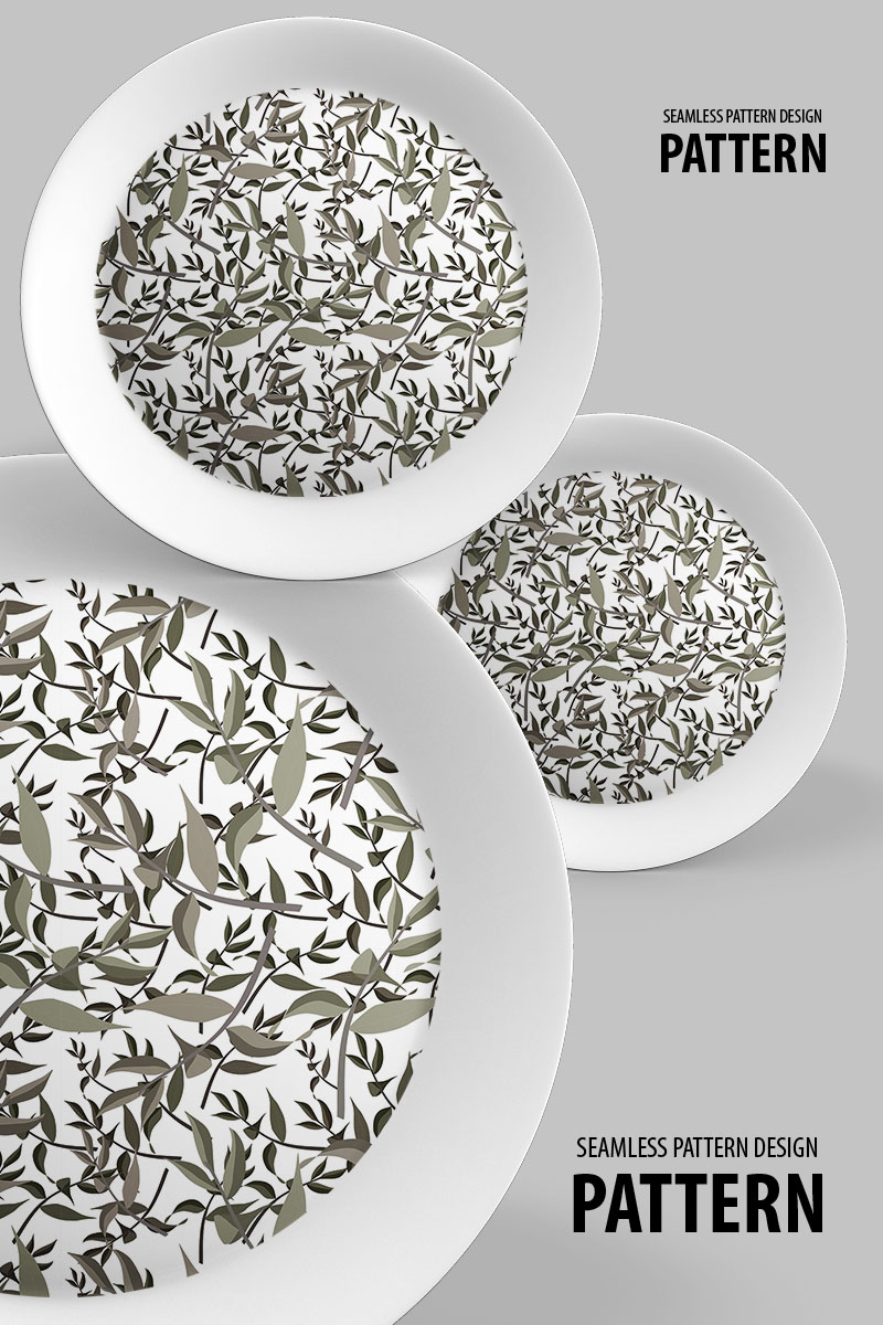 """Pattern """"Dry branches with leaves seamless design"""" #94497"""