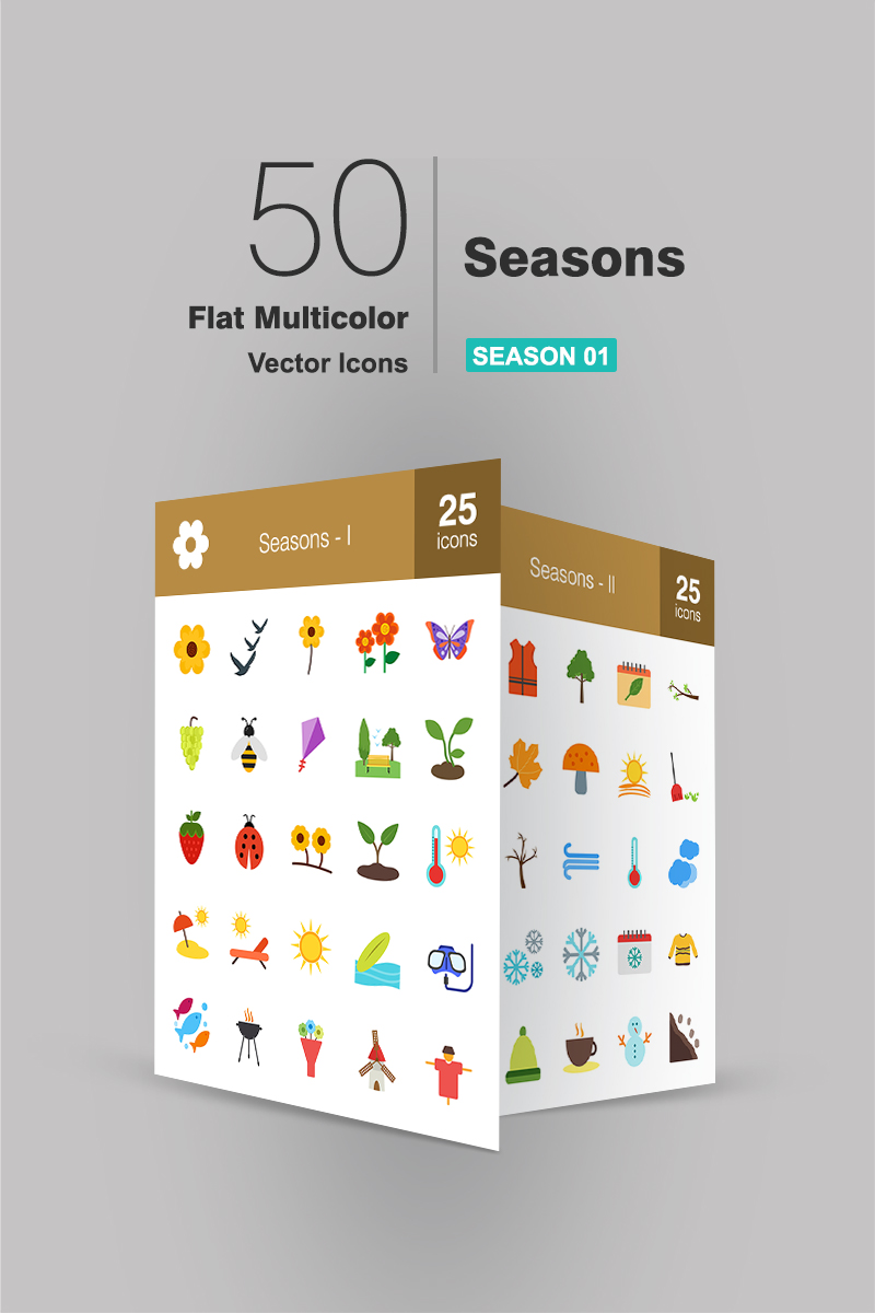 "Plantilla De Conjunto De Iconos ""50 Seasons Flat Multicolor"" #94483 - captura de pantalla"
