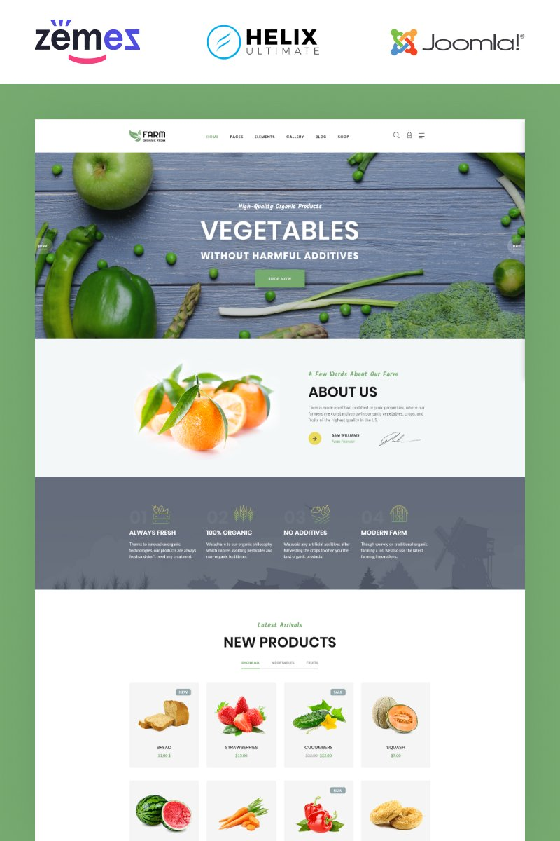 "Plantilla Joomla ""Farm - Food & Drinks Multipage Clean Joomla Theme"" #94401"