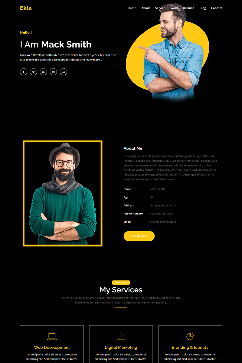 Reszponzív Ekla Personal Portfolio Nyítóoldal sablon 94400