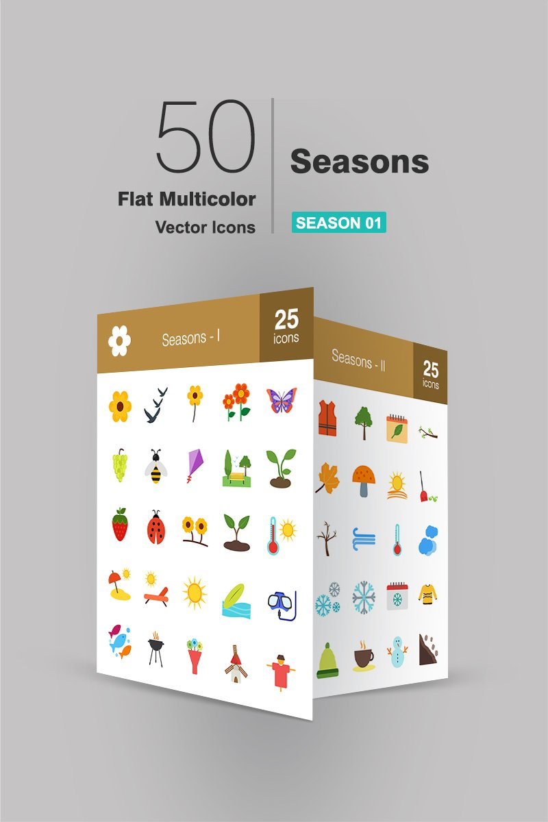 """50 Seasons Flat Multicolor"" Iconset template №94483"