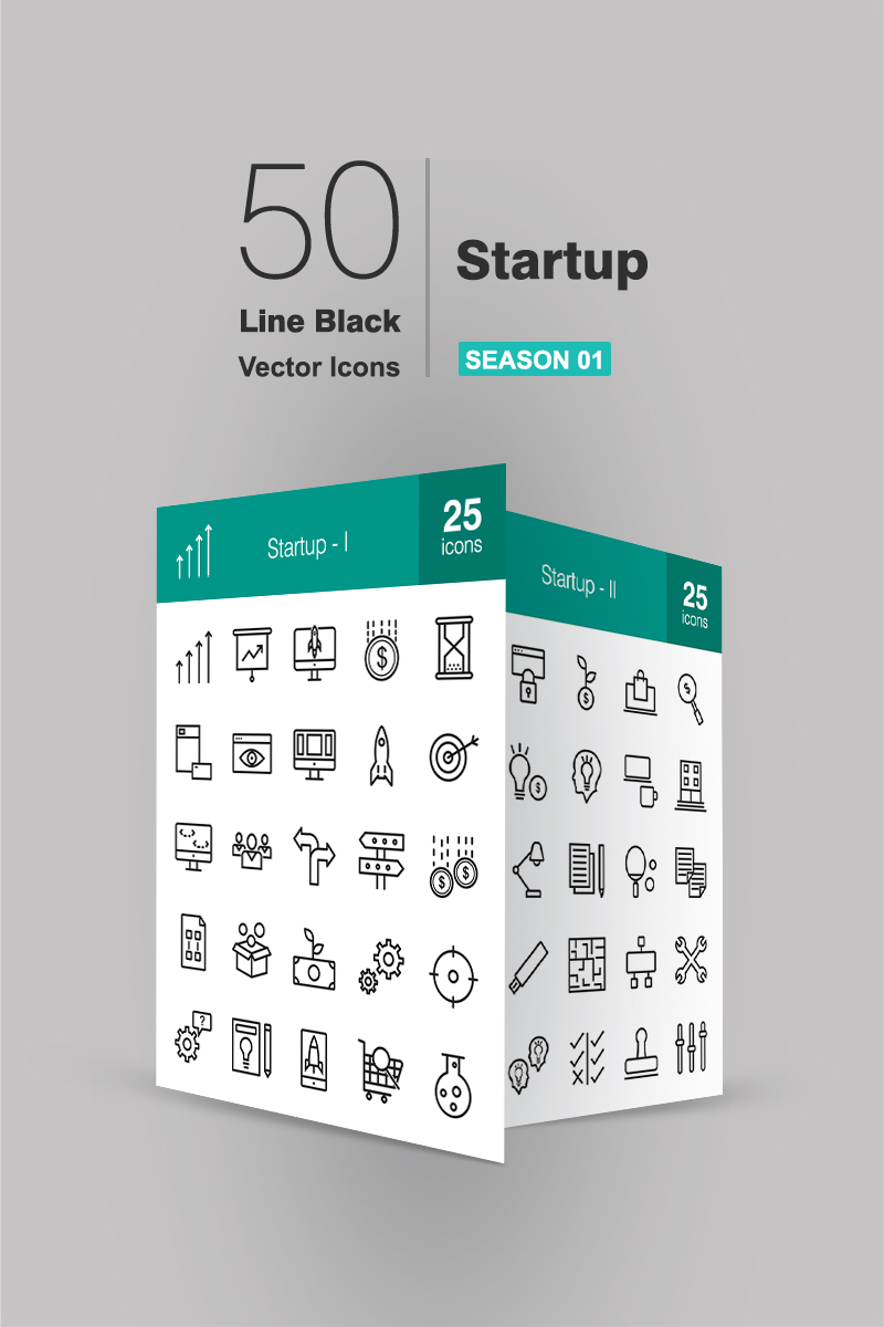 50 Startup Line Iconset Template