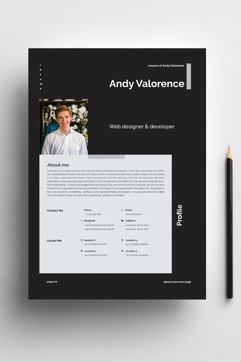 "Tema CV #94422 ""Andy - clean & colorful word"""