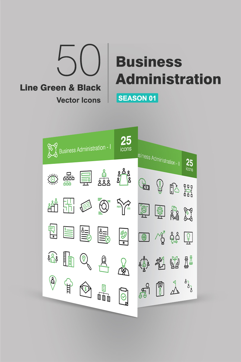 Zestaw Ikon 50 Business Administration Line Green & Black #94478