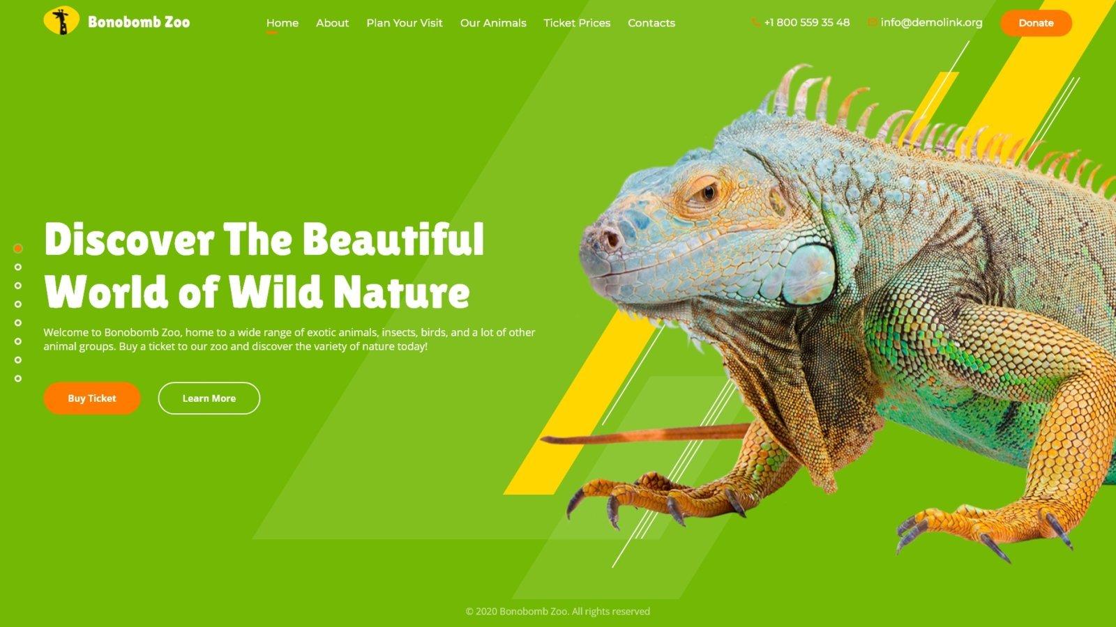 """Bonobomb - Full Animated Zoo"" Responsive Website template №94575 - screenshot"
