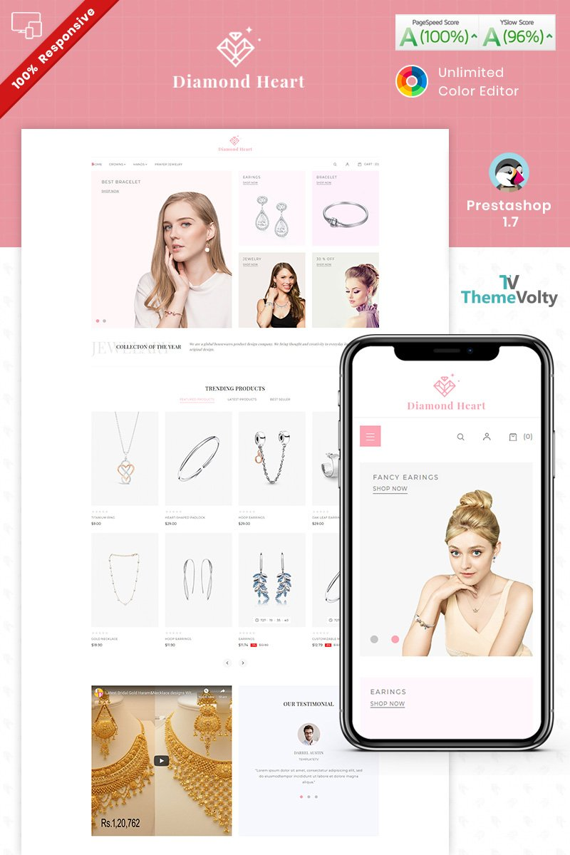 """Diamond Heart Jewelry Store"" Responsive PrestaShop Thema №94588"
