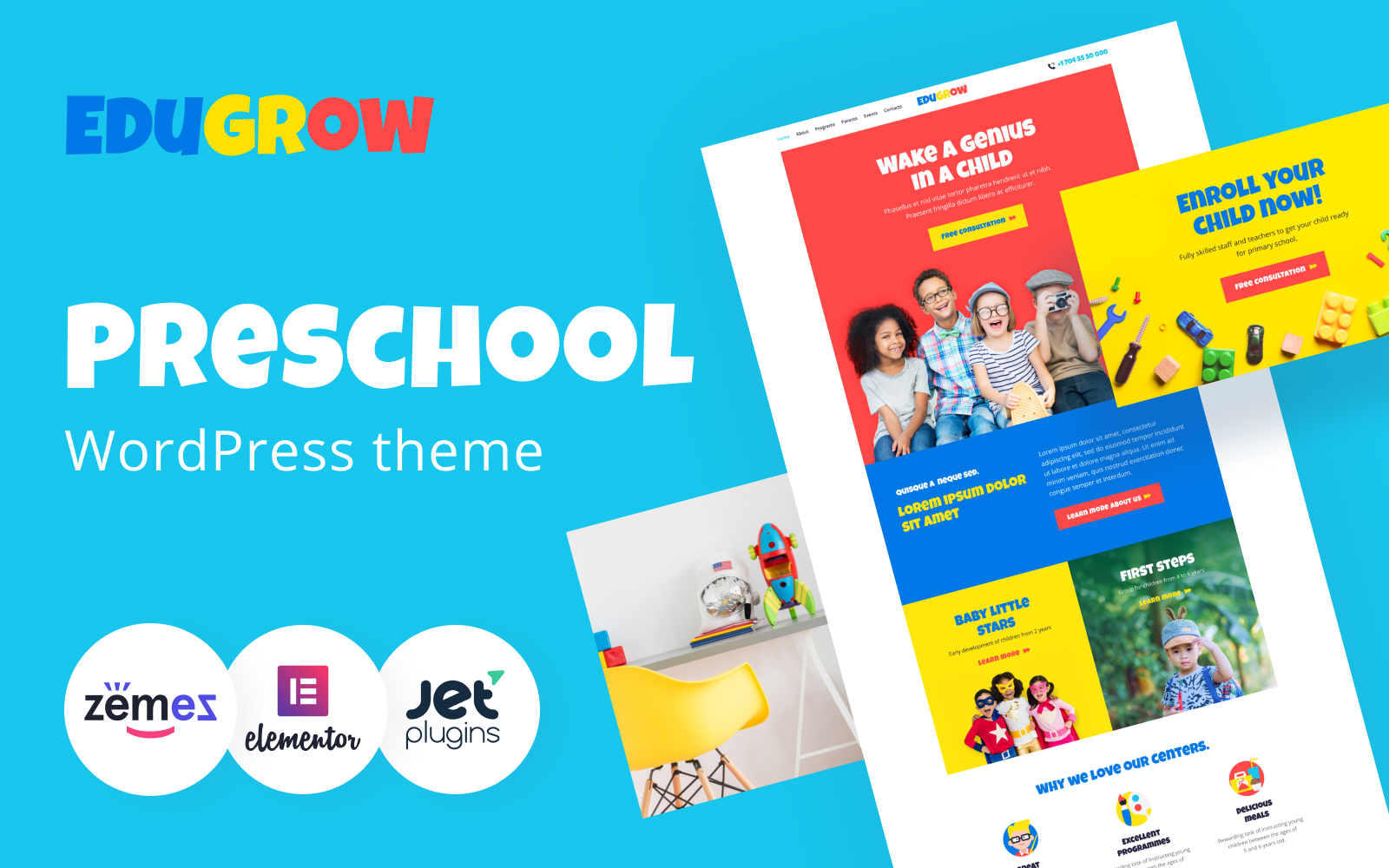 """Edugrow - Preschool WordPress Theme with a Vivid Design"" 响应式WordPress模板 #94536"