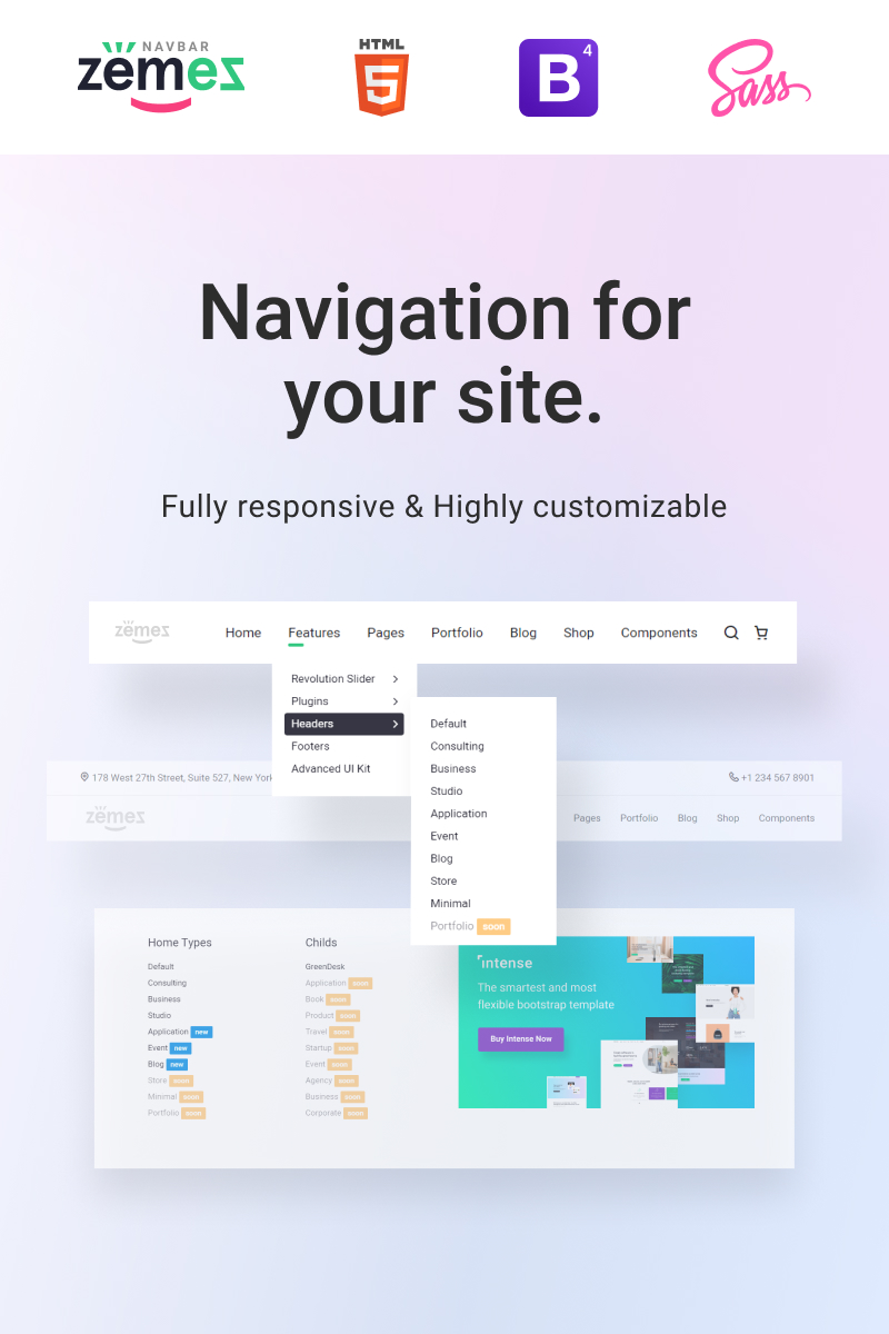 "JavaScript ""Zemez Responsive Navbar"" #94576 - captura de pantalla"