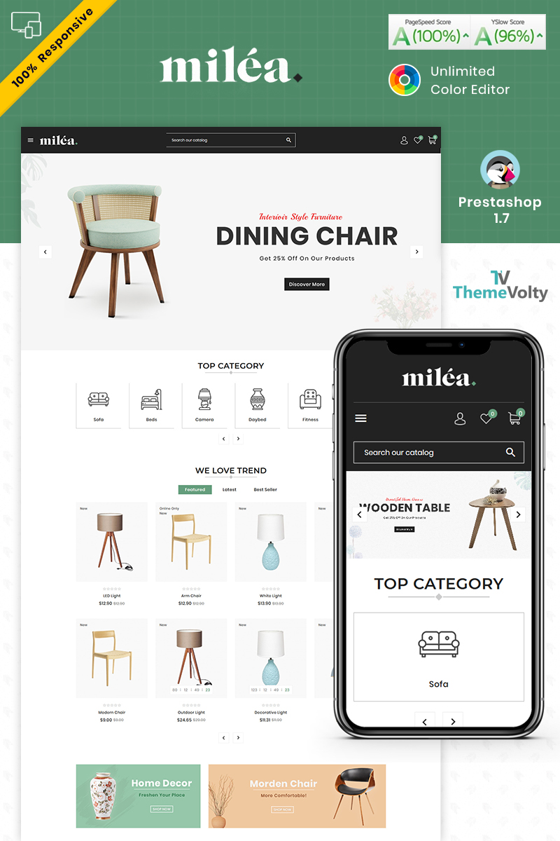"""Milea Furniture Mega Store"" Responsive PrestaShop Thema №94538"