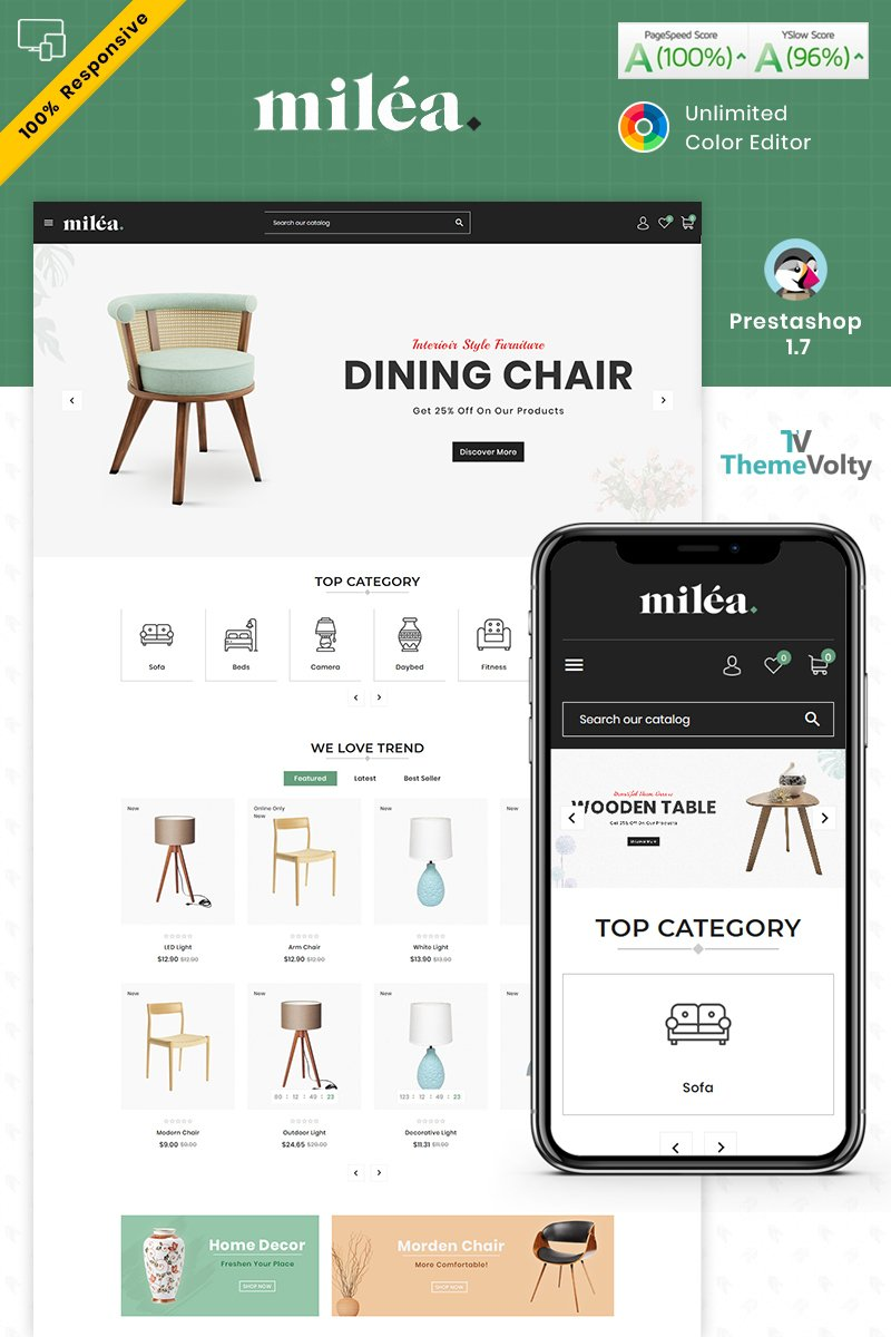 Milea Furniture Mega Store Tema PrestaShop №94538 - screenshot
