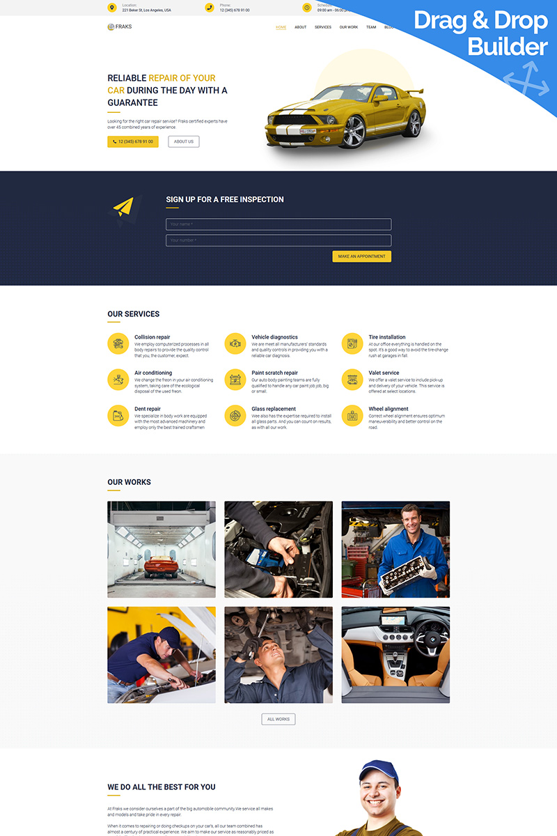 "Modello Moto CMS 3 Responsive #94535 ""Fraks - Car Repair"" - screenshot"
