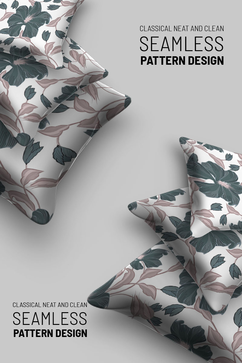 """Pattern namens """"Classic flowers with branches seamless design"""" #94505"""