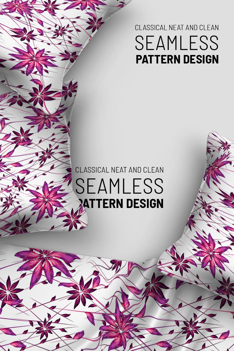 Random stary flower and lines seamless design Pattern 94503