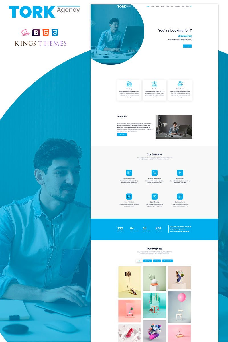 Responsivt Tork Agency Landing Page-mall #94589
