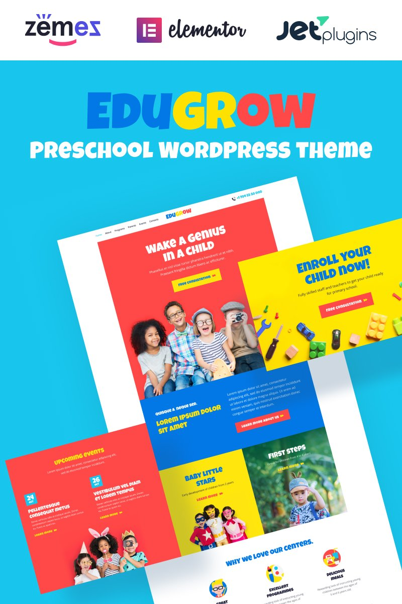 "Tema WordPress Responsive #94536 ""Edugrow - Preschool WordPress Theme with a Vivid Design"""