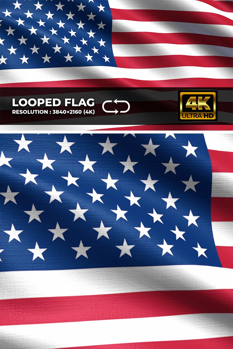 "Template Background #94585 ""United States Looping Flag 4K"""