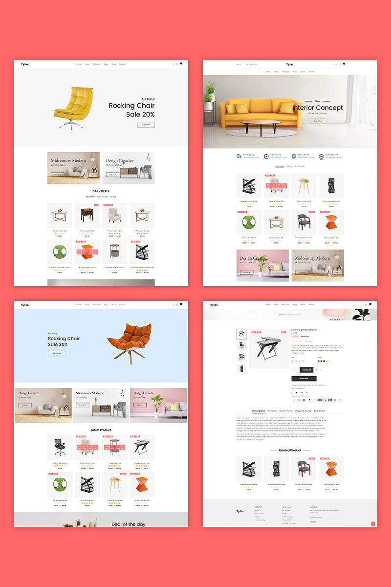 """Tyler – Furniture"" Responsive Shopify Thema №94537"