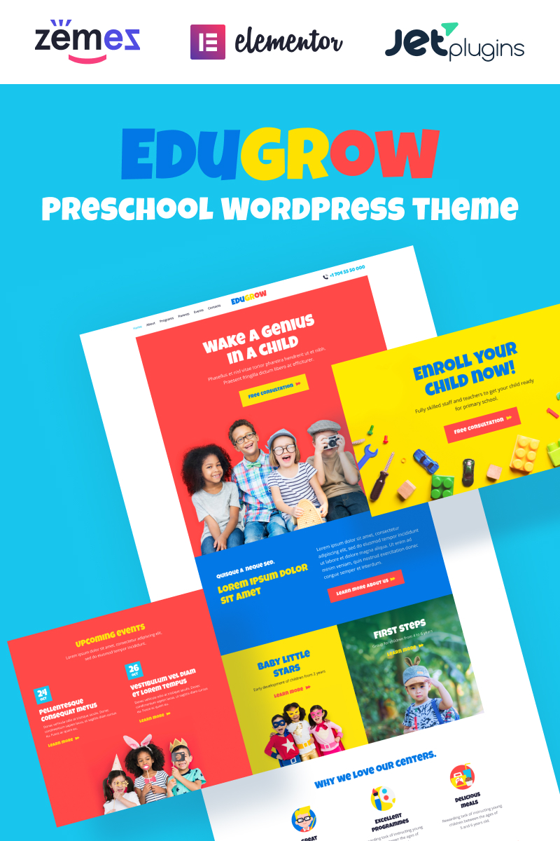 "WordPress Theme namens ""Edugrow - Preschool WordPress Theme with a Vivid Design"" #94536"