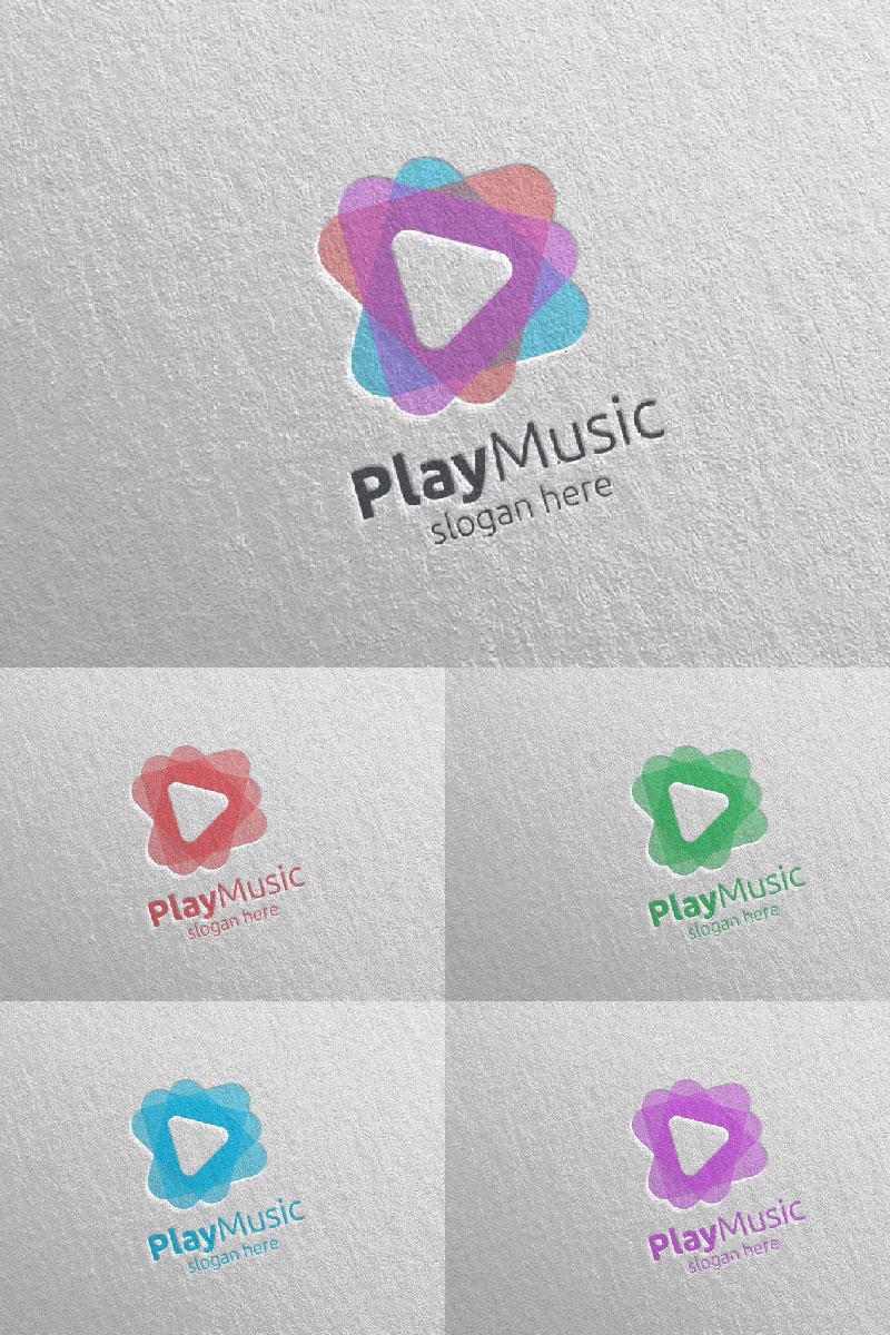Abstract Music  with Note and Play Concept 1 Unika logotyp mall #94659