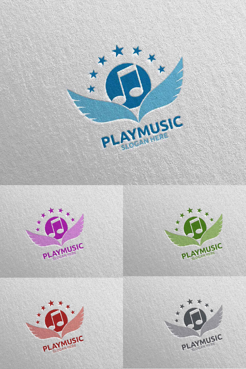 Abstract Music  with Note and Play Concept 11 Logo #94674