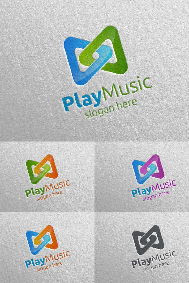 Abstract Music  with Note and Play Concept 2 Logo Template