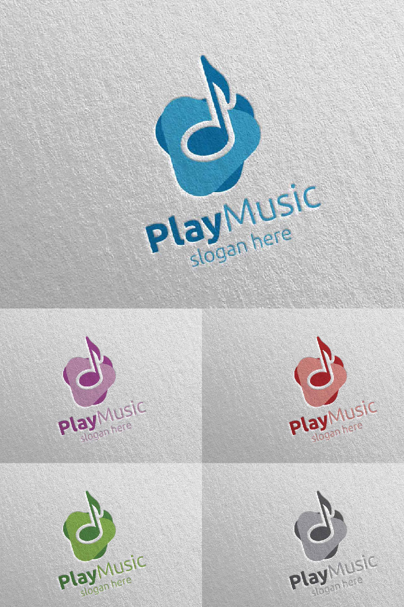 Abstract Music  with Note and Play Concept 3 Logo Template