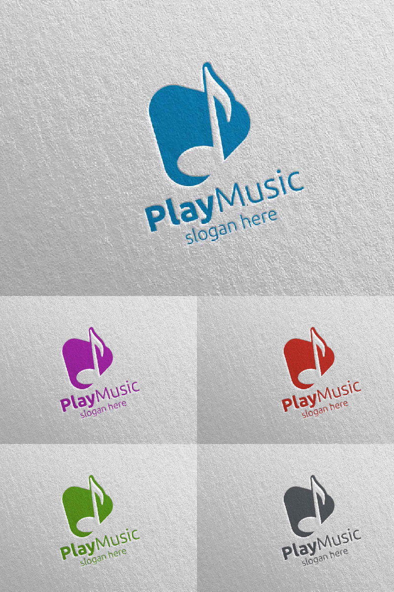 Abstract Music  with Note and Play Concept 4 Logo Template
