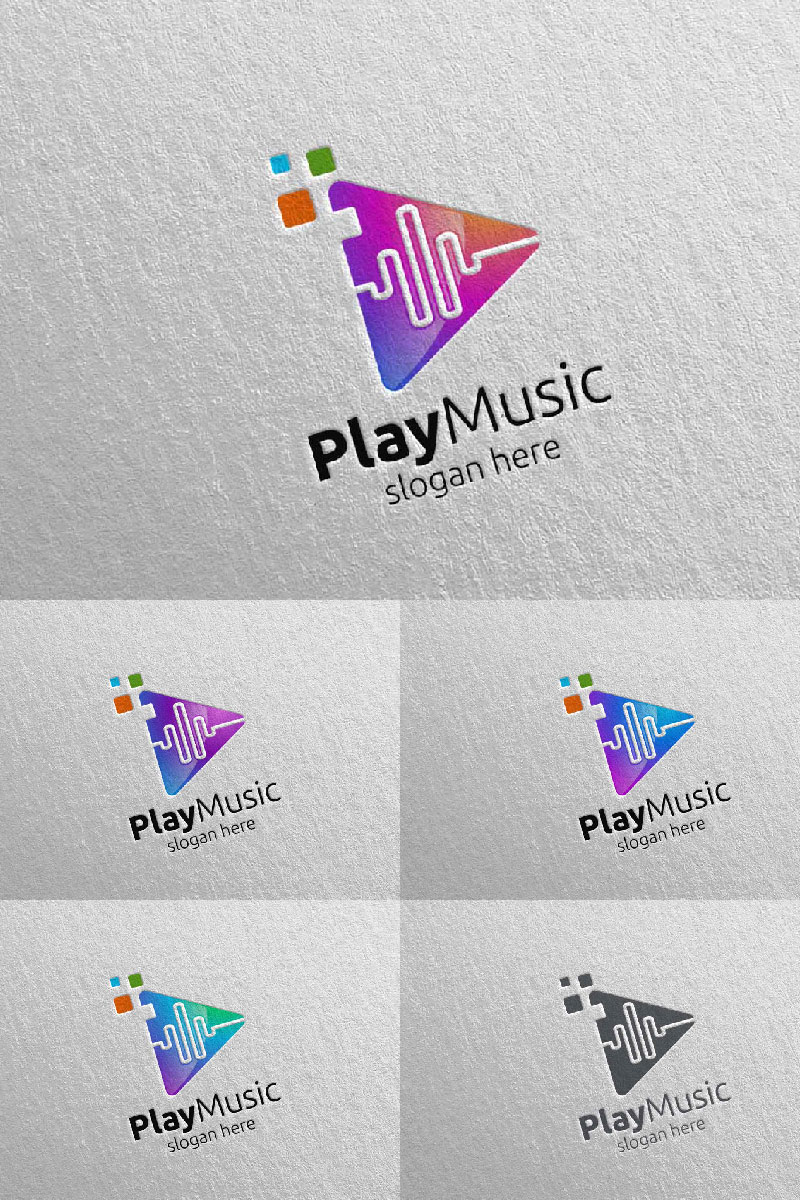 Abstract Music  with Note and Play Concept 5 Logo Template