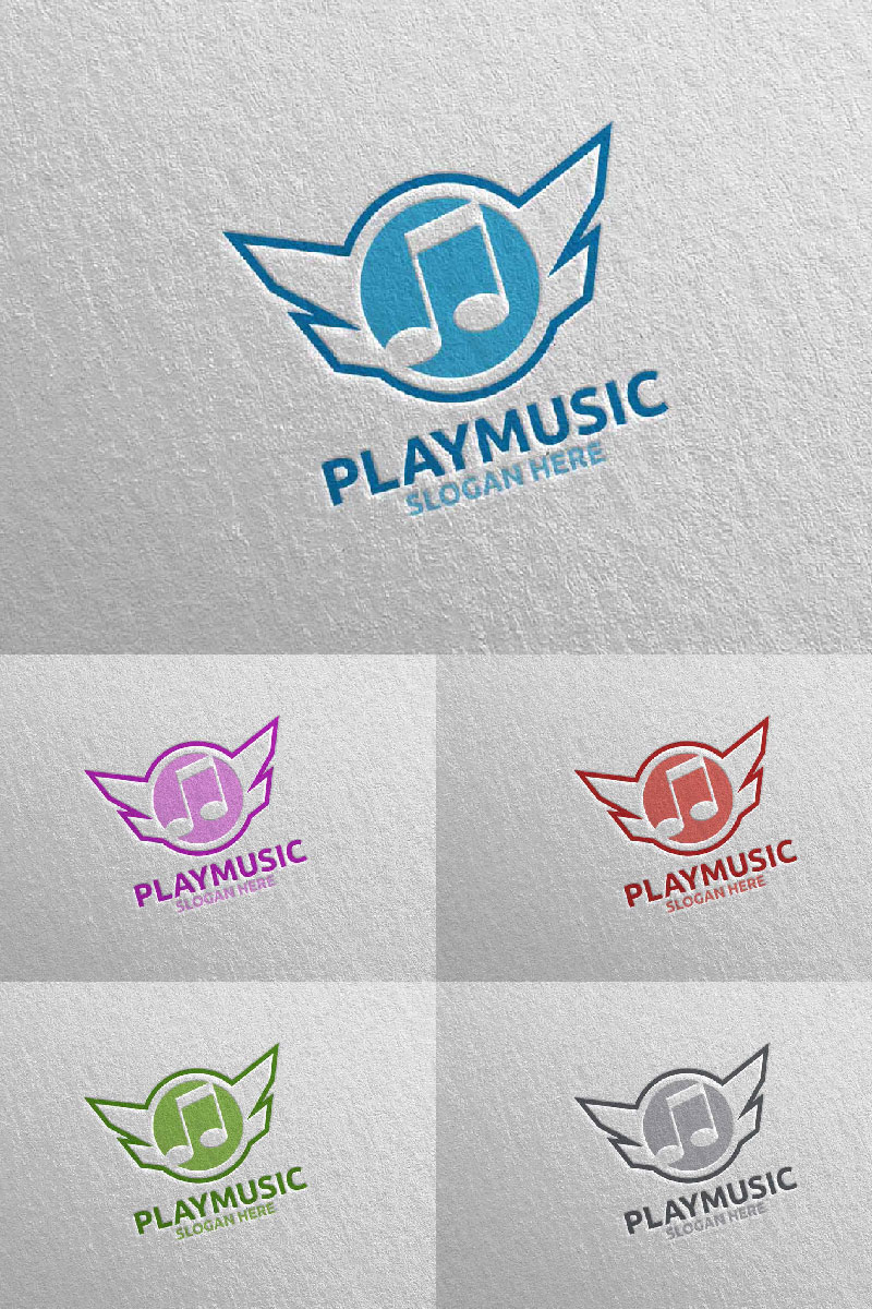 """Abstract Music  with Note and Play Concept 8"" Logo template №94652"