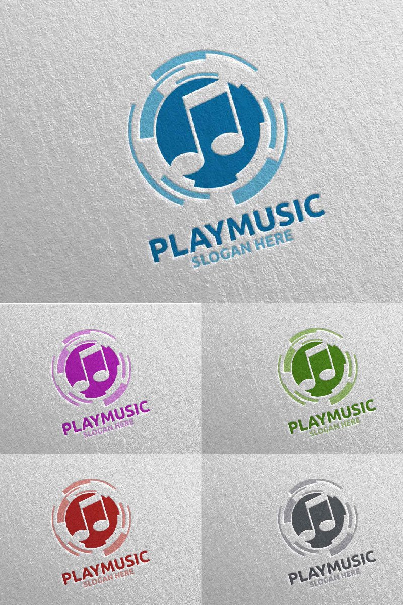 """Abstract Music  with Note and Play Concept 9"" modèle logo  #94651"