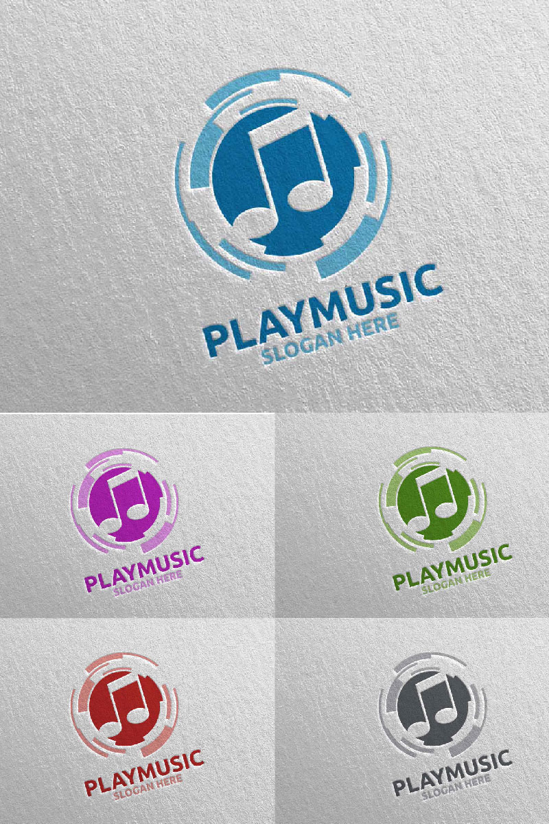 Abstract Music  with Note and Play Concept 9 Template de Logotipo №94651