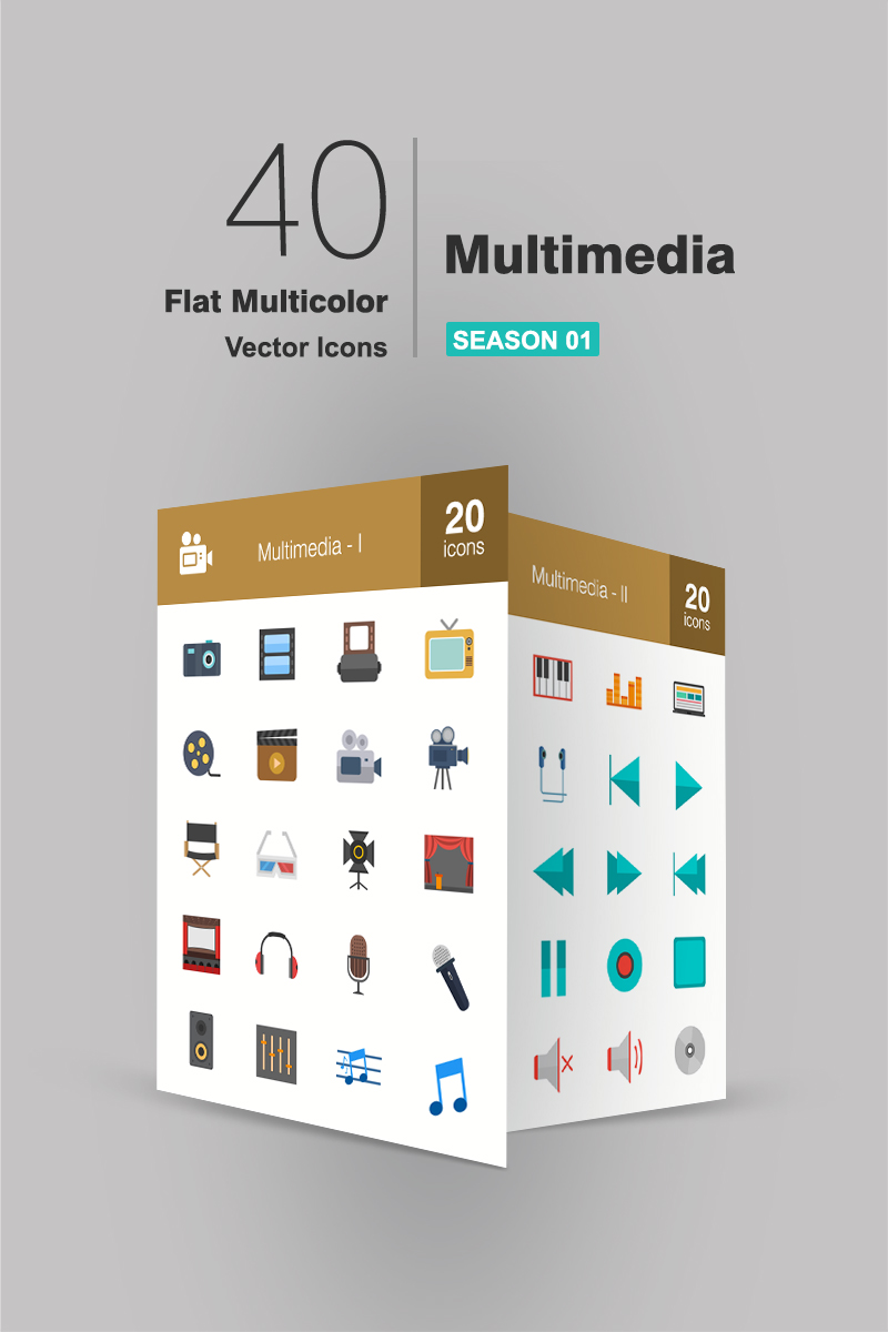 "Iconset šablona ""40 Multimedia Flat Multicolor"" #94621"