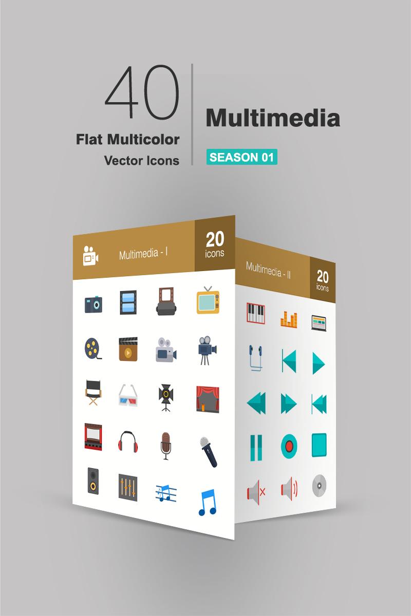40 Multimedia Flat Multicolor Iconset Template