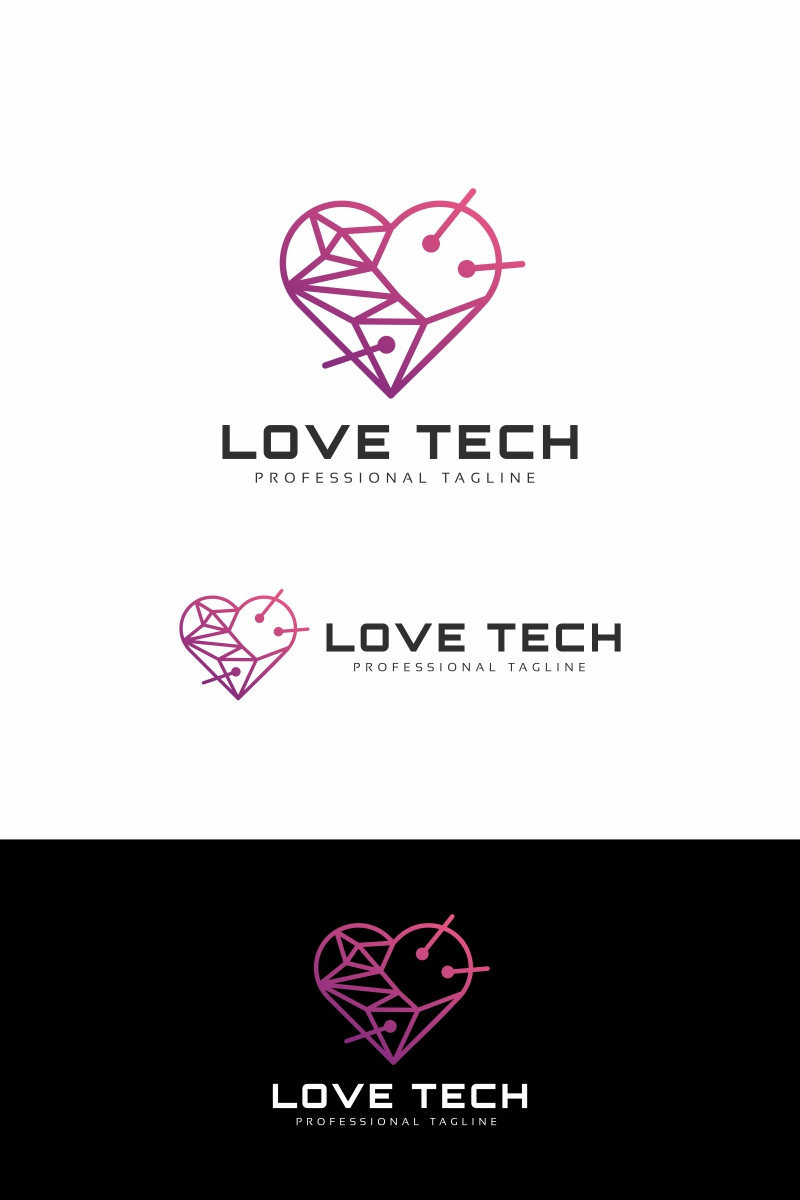 "Plantilla De Logotipo ""Love Tech"" #94672"