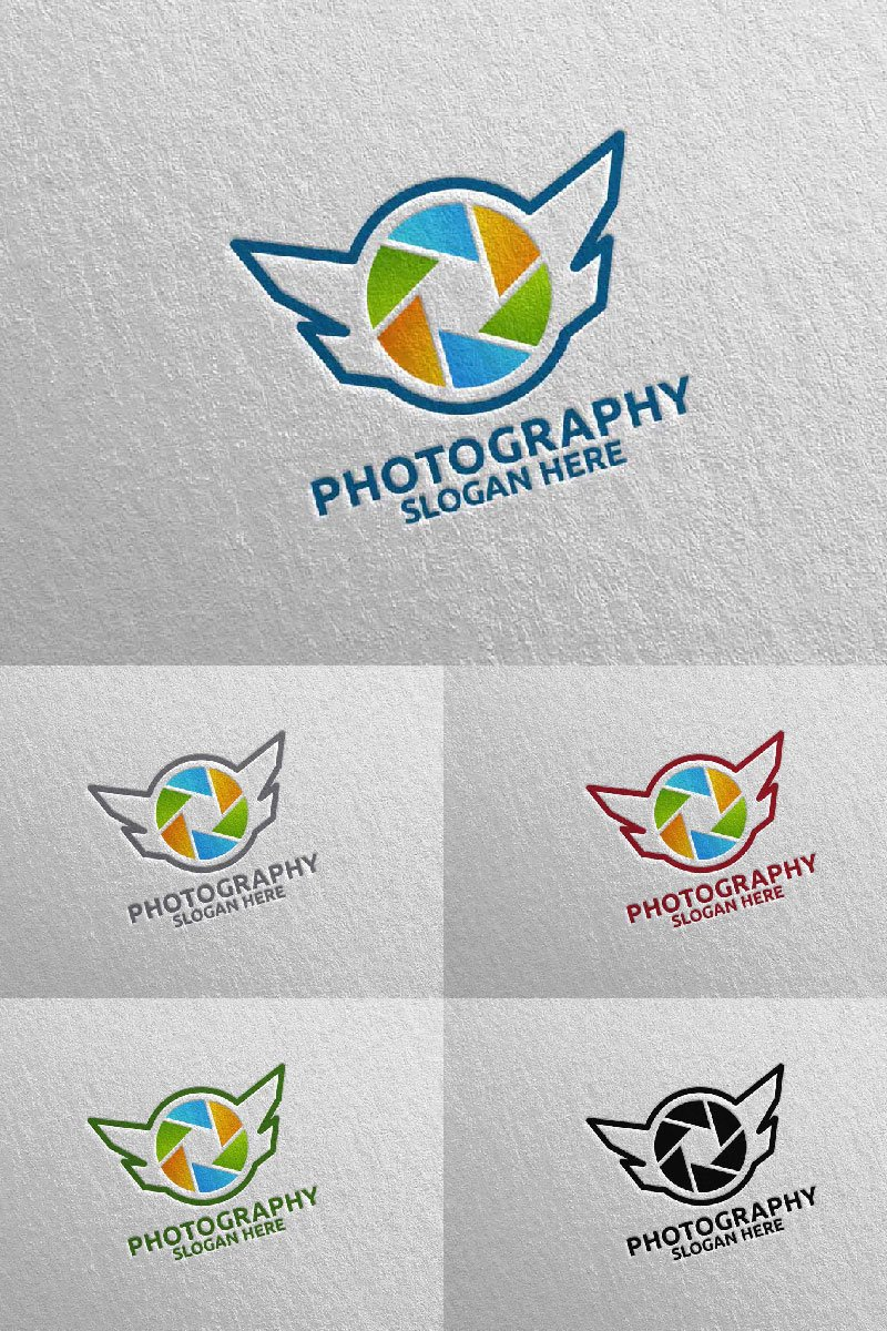 "Šablona logotypu ""Fly Wing Camera Photography 94"" #94683"