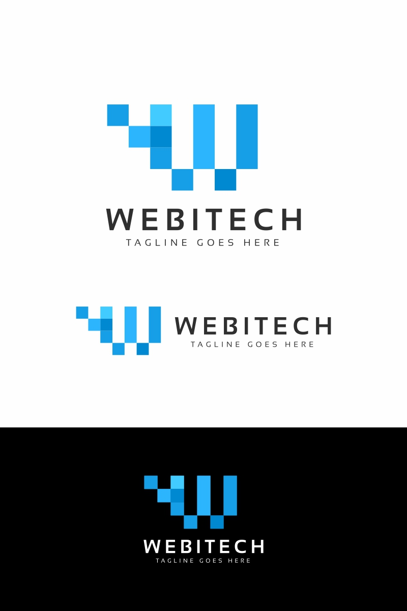 Webitech W Letter Logó sablon 94682