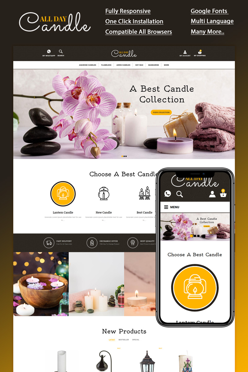 """""""All day - Candle Store"""" Responsive OpenCart Template №94794"""
