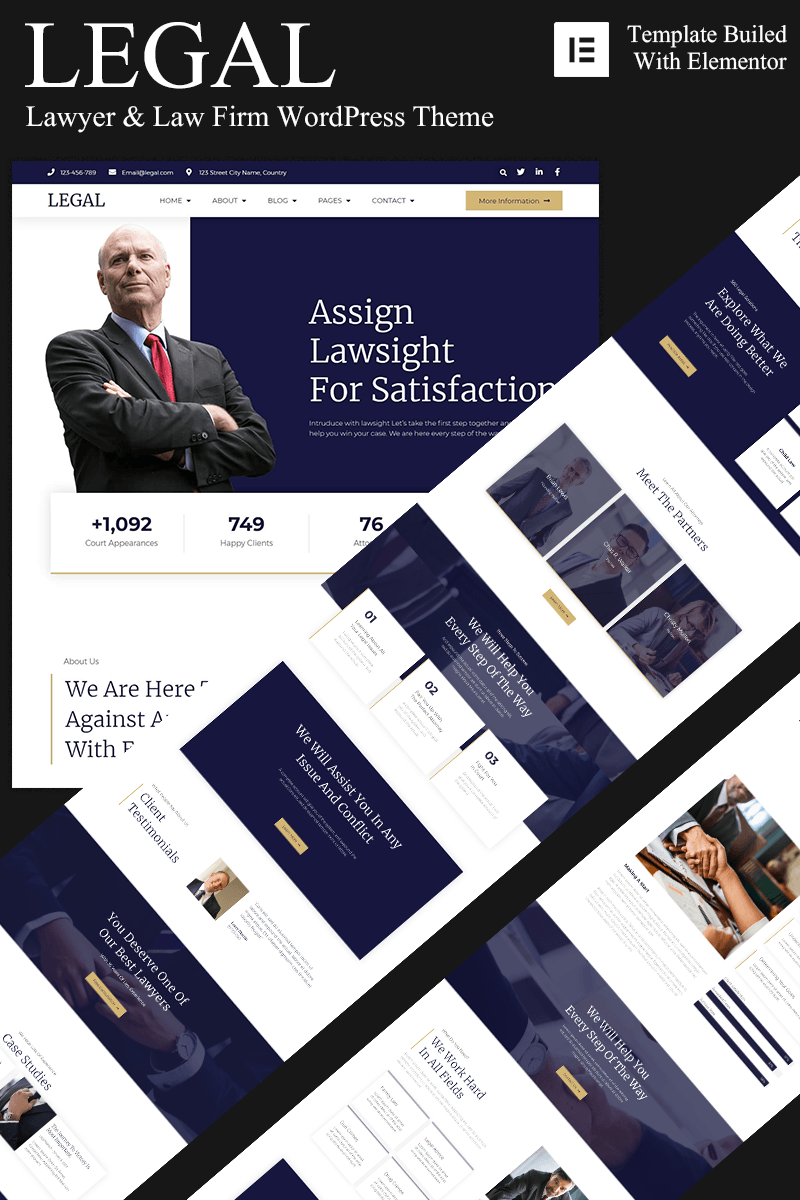 Responsivt Legal - Lawyer & Lawfirm WordPress-tema #94795