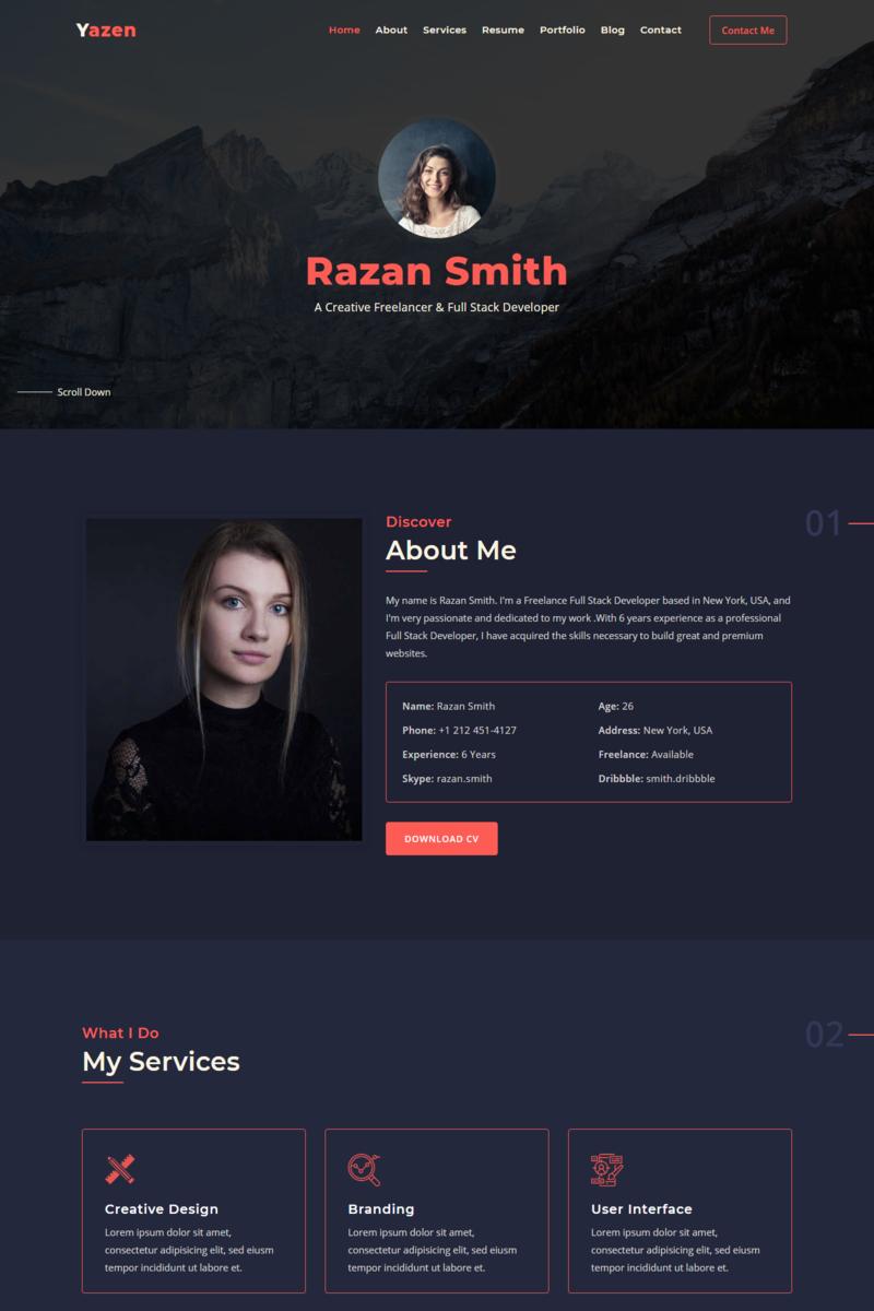 Reszponzív Yazen - Personal Portfolio Nyítóoldal sablon 94793