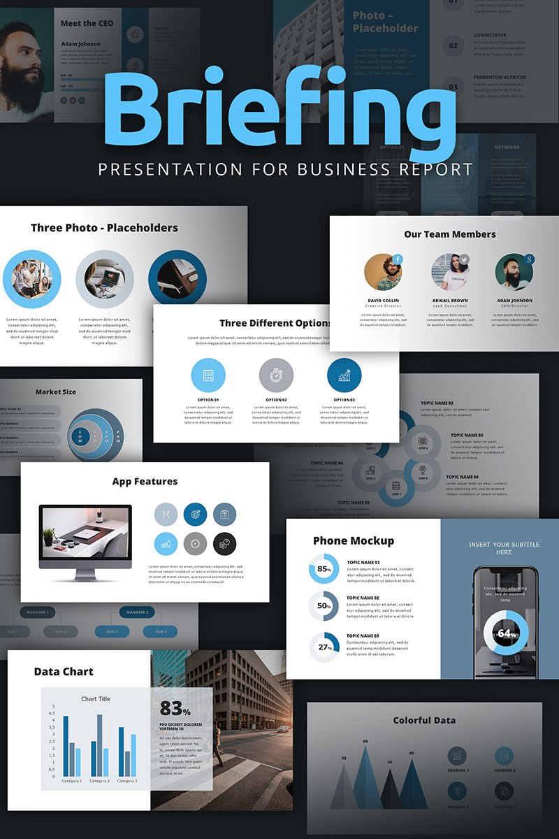 """""""Briefing Presentation For Business Report"""" PowerPoint Template №94872"""