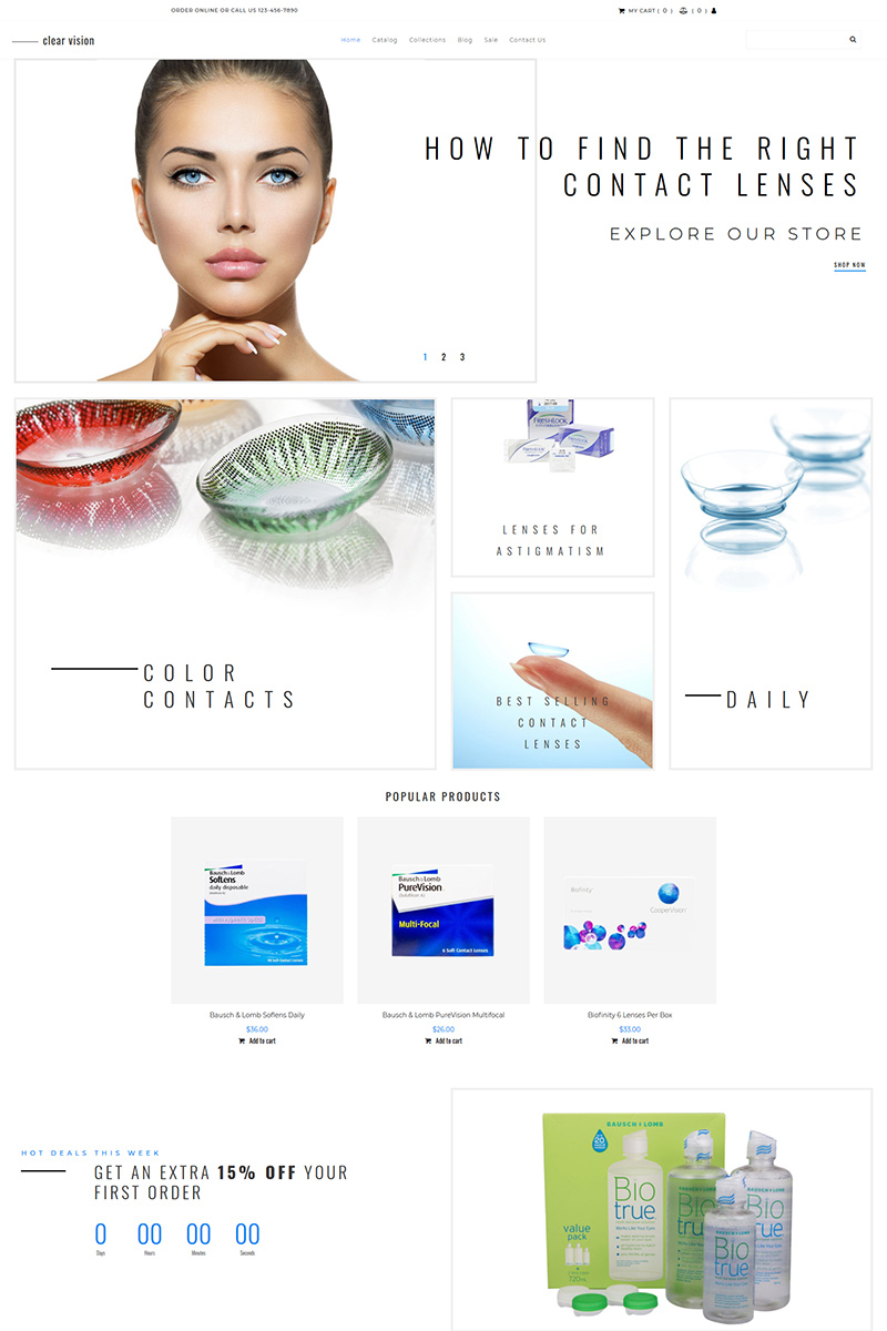"""""""Clear Vision - Optometry"""" Responsive MotoCMS Ecommercie Template №94869"""