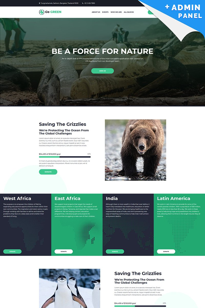 """Landing Page Template namens """"Go Green - Charity"""" #94870"""